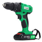 New 18V Power Drills Dual Speed Cordless Electric Driver Drill LED W/ 2 Li-ion Battery