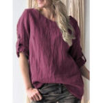 New Casual Women Cotton Solid Color Long Sleeve Shirts