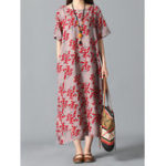 New Floral Print O-neck Vintage Dress