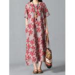 New Floral Print O-neck Vintage Dress