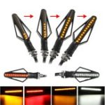 New 12V 24 LED Motorcycle Flowing Amber Turn Signal Indicator White/Red DRL Brake Lights