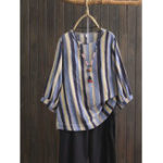 New Plus Size Women Vintage Puff Sleeve Stripe Blouse