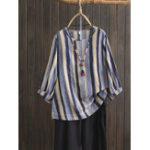 New Plus Size Women Vintage Puff Sleeve Stripe Blouse