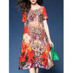 New Women Retro Printed Crew Neck Short Sleeve Silk Dress
