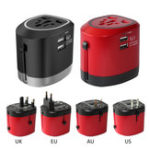 New CH-118 International Universal Travel Power Adaptor Converter Dual USB Charger AU/UK/US/EU