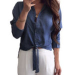 New Women Button Asymmetric Denim Blouse