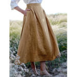 New Solid Elastic Waist Linen Cotton Skirts