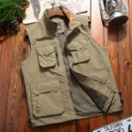 New Men Multi Pockets Zipper Stand Collar Outdoor Vest