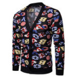New Men Multiple National Flags Print Button Cardigans