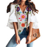 New Bell Sleeve V-neck Floral Print Boho Blouse