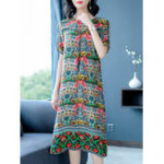 New Elegant Women Print Crew Neck Short Sleeve Dress