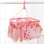 New 32Clip Portable Socks Cloth Hanger Rack Clothespin Multifunctional Drying Rack Sock Holder