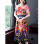 New Elegant Women Floral Print Short Sleeve Dress