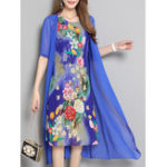 New Floral Print Two Pieces Sets Chiffon Dress