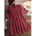 New Plus Size Plaid Button Short Sleeve Irregular Hem Blouse