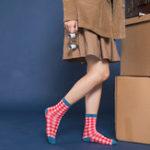 New Women Students Cotton Plaid Middle Tube Socks