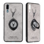 New Bakeey Happy Deer Ring Holder Bracket TPU+PU Leather Protective Case For Huawei P20