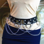 New Punk PU Leather Belt Metal Chain Ring Waist Belt Strap Dance Gothic Binding Harness