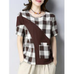 New Women Plaid Patchwork Short Sleeve T-Shirts with Pocket