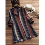New Plus Size Vintage Stripe Long Sleeve Women Blouse