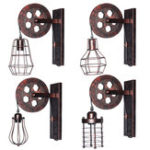 New E27 Vintage Industrial Wall Lamp Pulley Light Indoor Sconce Fixture Decoration