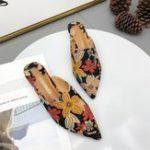 New Vintage Flowers Pattern Slip On Flat Sandals