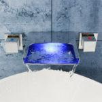 New LED Waterfall Bathroom Basin Faucet Mixer Taps Wall Mounted Handheld Tub Filler Shower Dual Handles