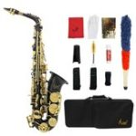 New Brass Engraved Eb E-Flat Alto Saxophone Sax With Case Gloves Cleaning Cloth Belt Brush
