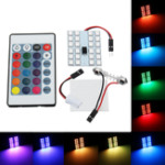 New RGB 5050 SMD LED Lights Panel Car Interior T10 Festoon Dome Reading Map Lamp with Remote Control