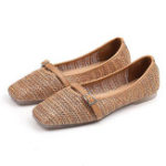 New Straw Plaited Casual Breathable Slip On Flats Loafers