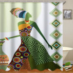 New Fashion African Woman Pattern Waterproof Polyester Fabric Shower Curtain for Bathroom