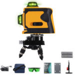 New 12 Line Laser Level Self Leveling 3D 360° Rotary Green Cross Measure + Tripod