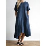 New Plus Size Casual Short Sleeve Irregular Hem Dress