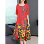 New Women Short Sleeve O-neck Floral Print Dress