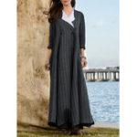New Women Elegant Stripe V-neck Long Sleeve Maxi Dress