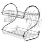 New Multifunction 2 Tier Kitchen Dish Cutlery Drainer Rack Drip Tray Plate Holder Drain Shelf