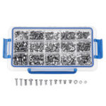New Suleve™ MXST3 480Pcs M4 M5 M6 Torx Machine Screw 304 Stainless Steel Flat & Round Head Bolt Nut Assortment