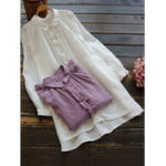 New Solid Button Turn-Down Collar Vintage Blouse