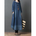 New Women Doll Collar Denim Blue Long Shirt Dress
