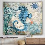New Large Ocean Seahorse Tapestry Wall Hanging Decor Boho Bohemian Bedspread Beach
