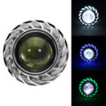 New Double Color Round 8000K 30W High/Low Beam LED Headlights For Motorcycle Angel Eyes Devil Eye Light