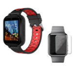 New FINOW Q1 Pro Black Red 4G 1+8G GPS WIFI IP67 Waterproof Smart Watch + 40mm HD Tempered Glass Watch Screen Protector