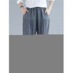 New Women Cotton Striped Elastic Waist Trousers Pants