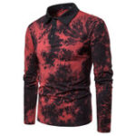 New Men Art Print Long Sleeve Turn-down Collar T-Shirts