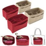 New Red/Creamy White Handbag Organizer Makeup Purse Insert Bag MultiPocket Liner Tote