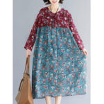 New Women Floral Print Patchwork Cotton Linen Long Sleeve Dress