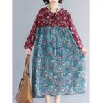 New Women Floral Print Patchwork Cotton Linen Long Sleeve Dress