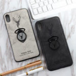New Bakeey Happy Deer Ring Holder Bracket TPU+PU Leather Protective Case For iPhone XS Max 6.5 Inch