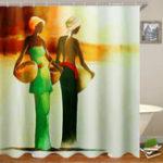 New 3D Bathroom Shower Curtain African Woman Shower Curtain Black Girl Bathroom Waterproof Polyester Fabric for Bathtub Decor 12 Hooks