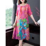 New Vintage Floral Print Silk Dress